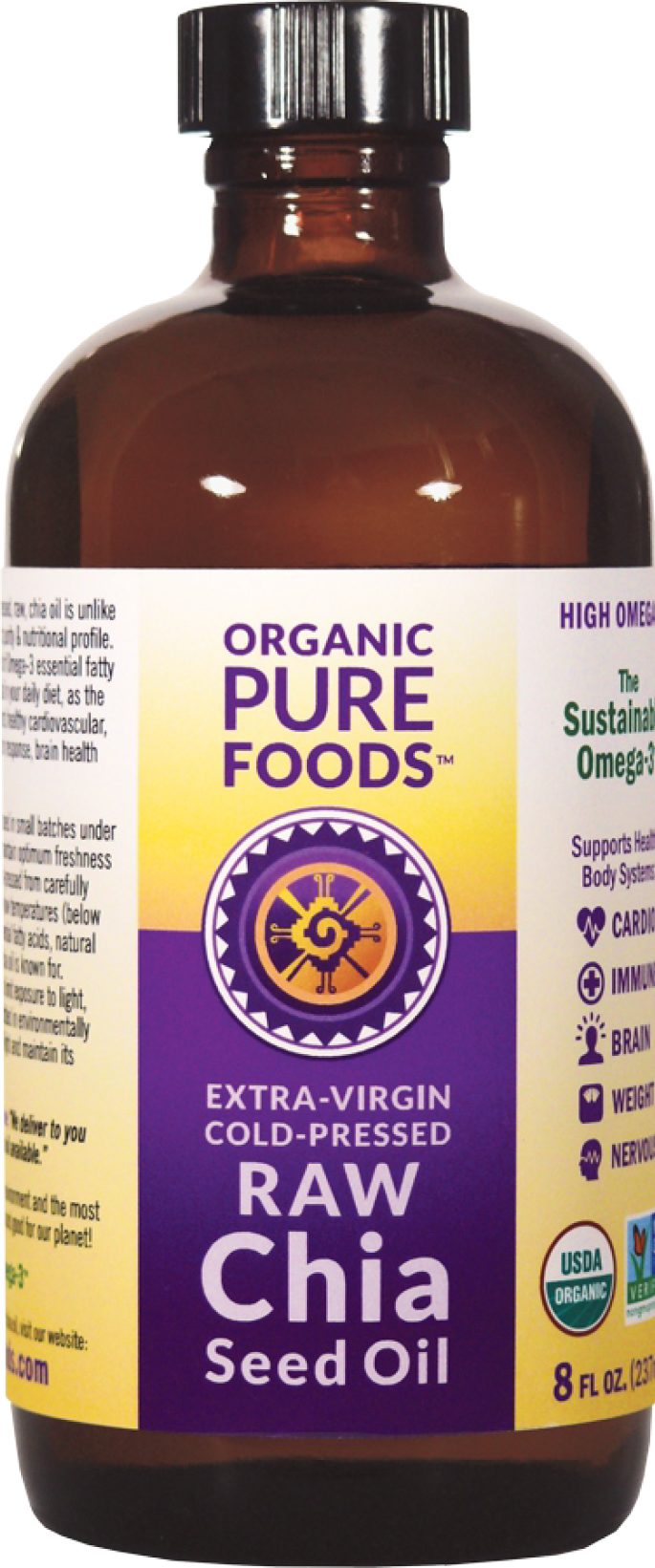 Organic Pure Foods Extra Virgin Cold Pressed Raw Chia Oil